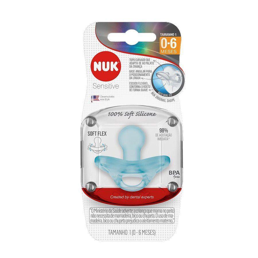 Chupeta Sensitive 0-6m Tam1 Azul – Nuk