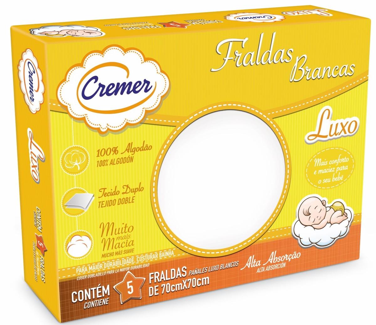 Fralda Luxo Branca 5unid – Cremer